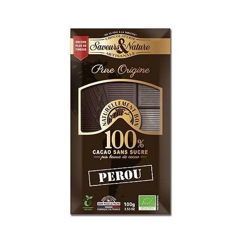 Chocolat Pérou 100% cacao sans sucre