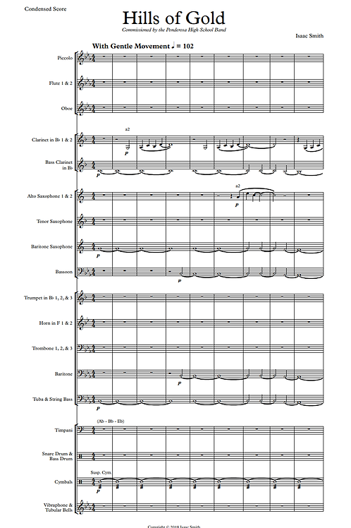 Hills of Gold, for Concert Band (Score and Parts)