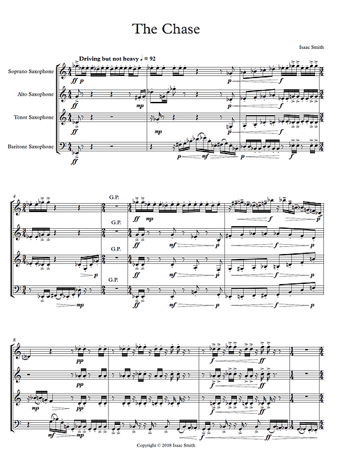 The Chase, for Saxophone Quartet