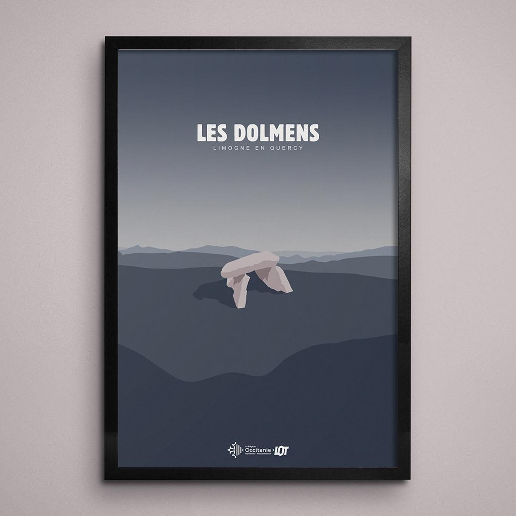 Les affiches tourisques du Lot • Limogne-en-Quercy • Les Dolmens