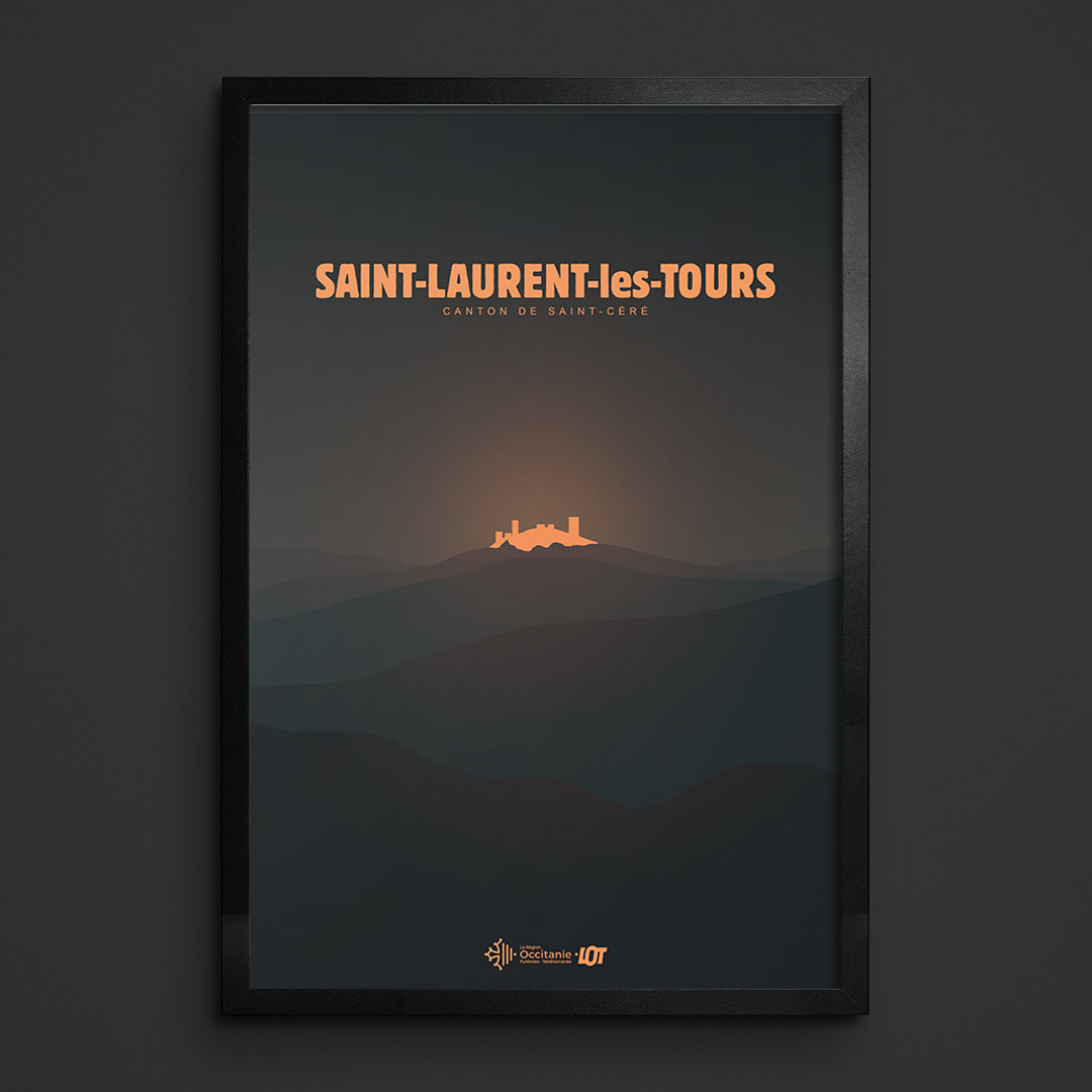 Les affiches tourisques du Lot • Saint-Laurent-les-Tours • De Nuit