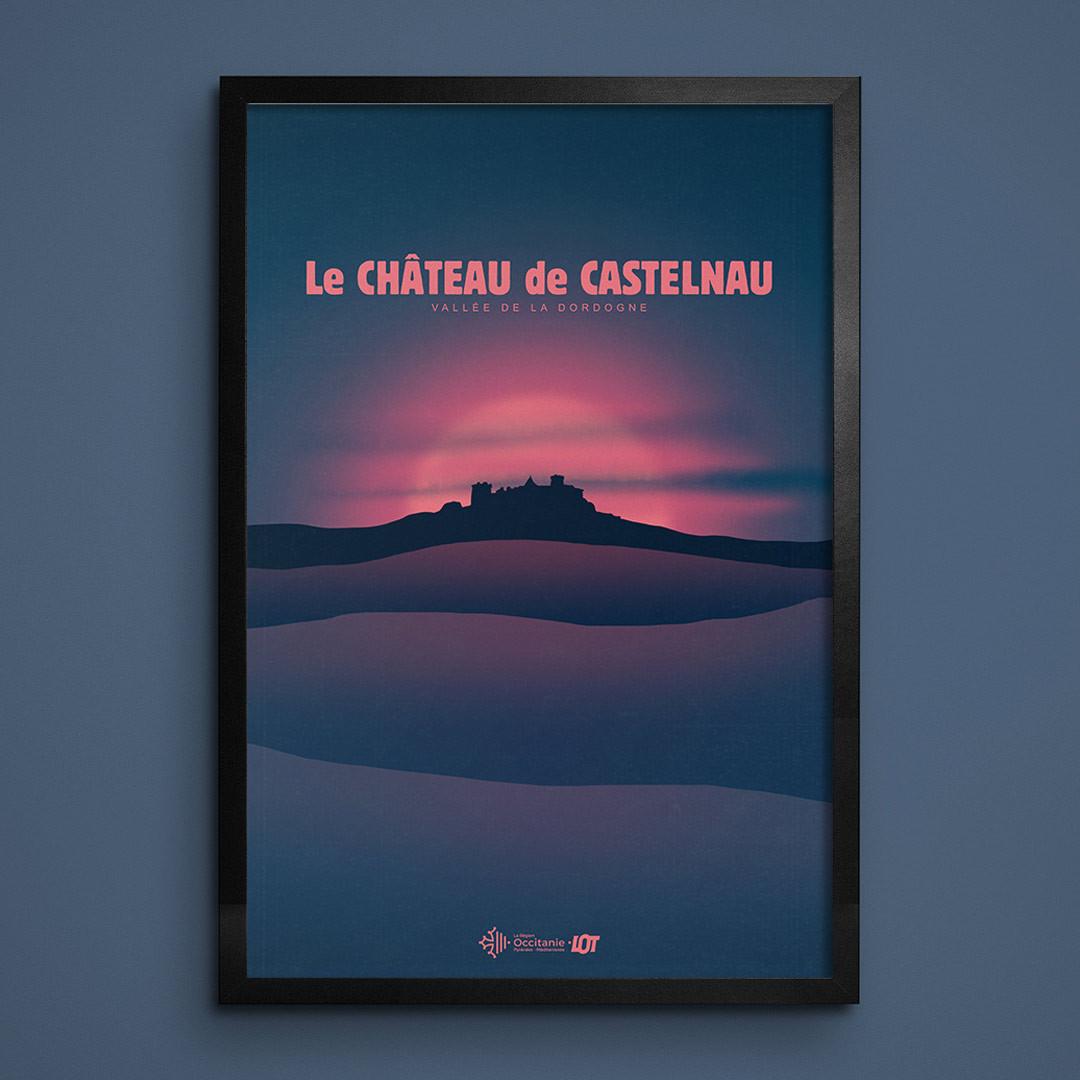 Les affiches tourisques du Lot • Lac du Tolerme • Levé de Soleil