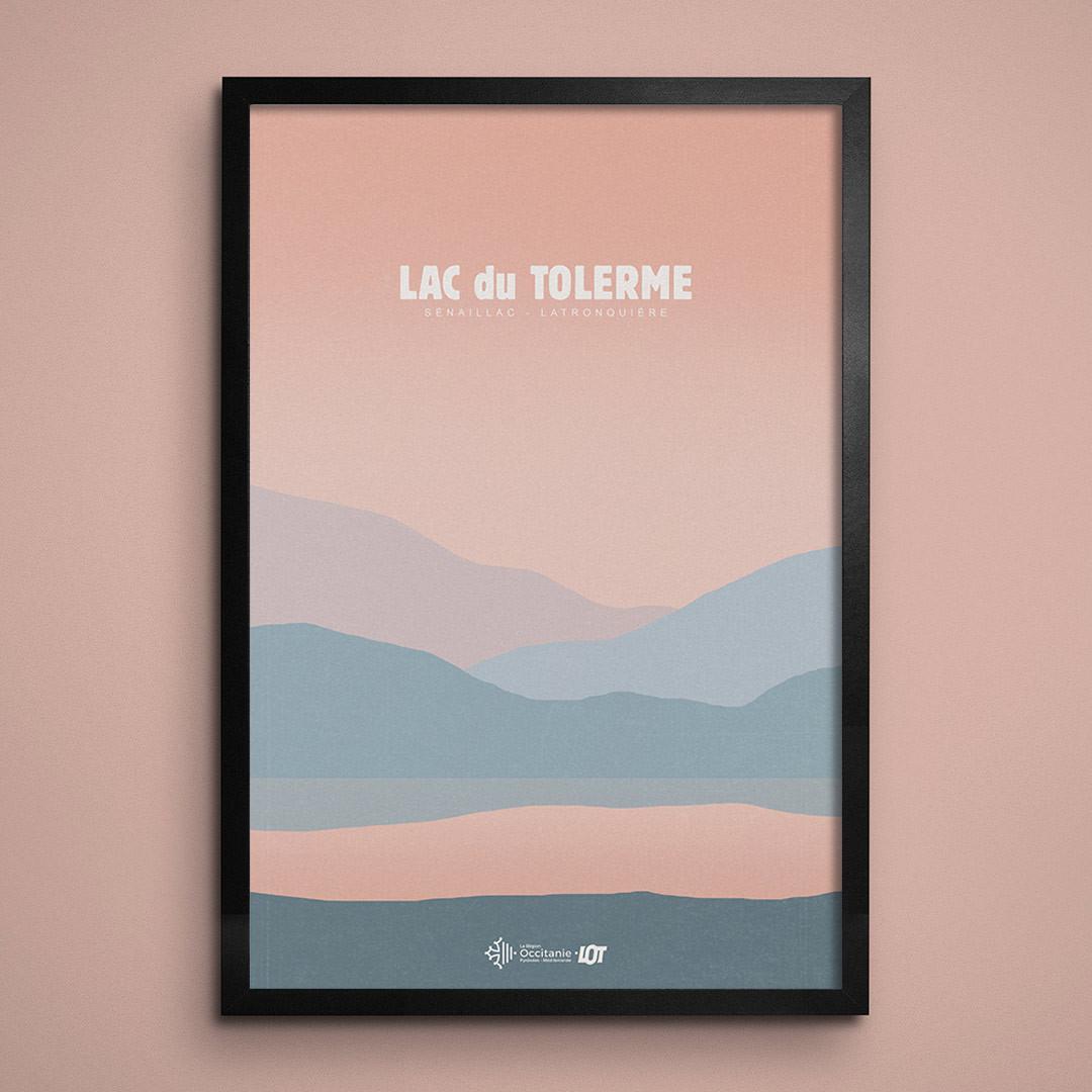 Les affiches tourisques du Lot • Lac du Tolerme • Couché de Soleil