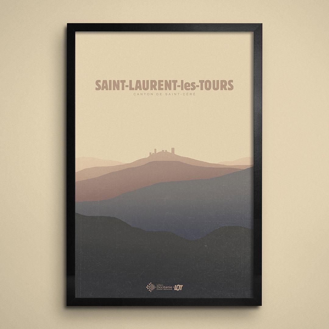 Les affiches tourisques du Lot • Saint-Laurent-les-Tours • En Été