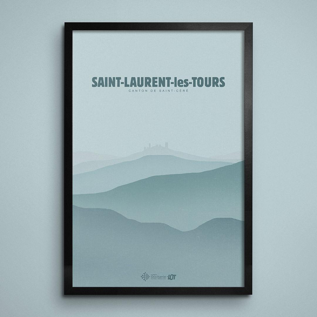 Les affiches tourisques du Lot • Saint-Laurent-les-Tours • En Hiver