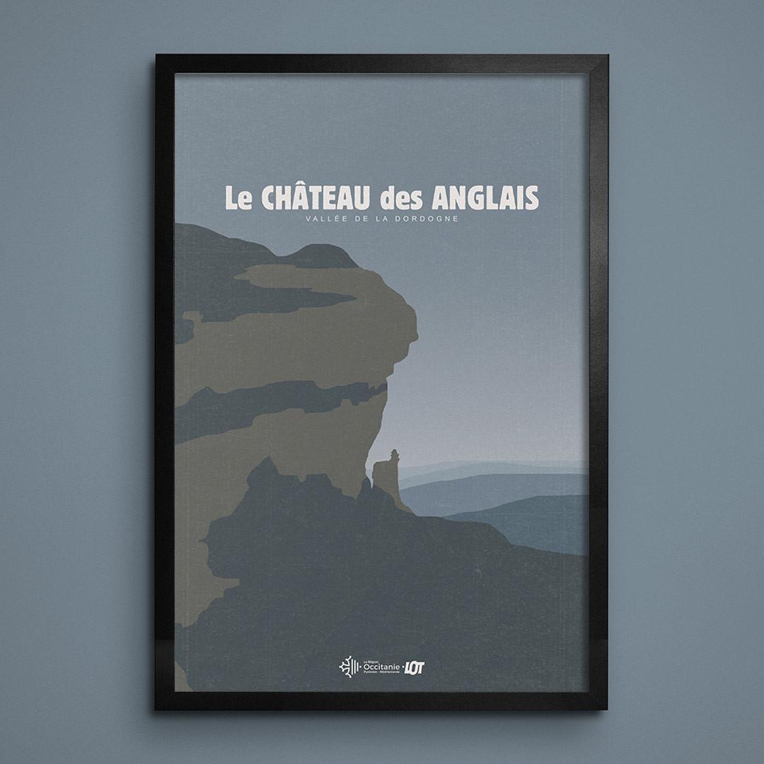 Les affiches tourisques du Lot • Le Château des Anglais • Autoire