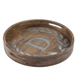 "WOOD/METAL 20"" ROUND TRAY ""D"""