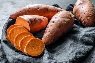 Raw sweet potatoes, organic yam. The far