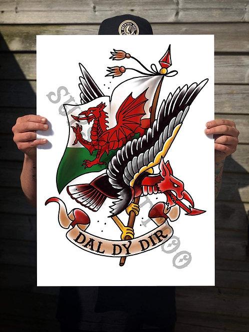 A3 Traditional Welsh Dreagle Print