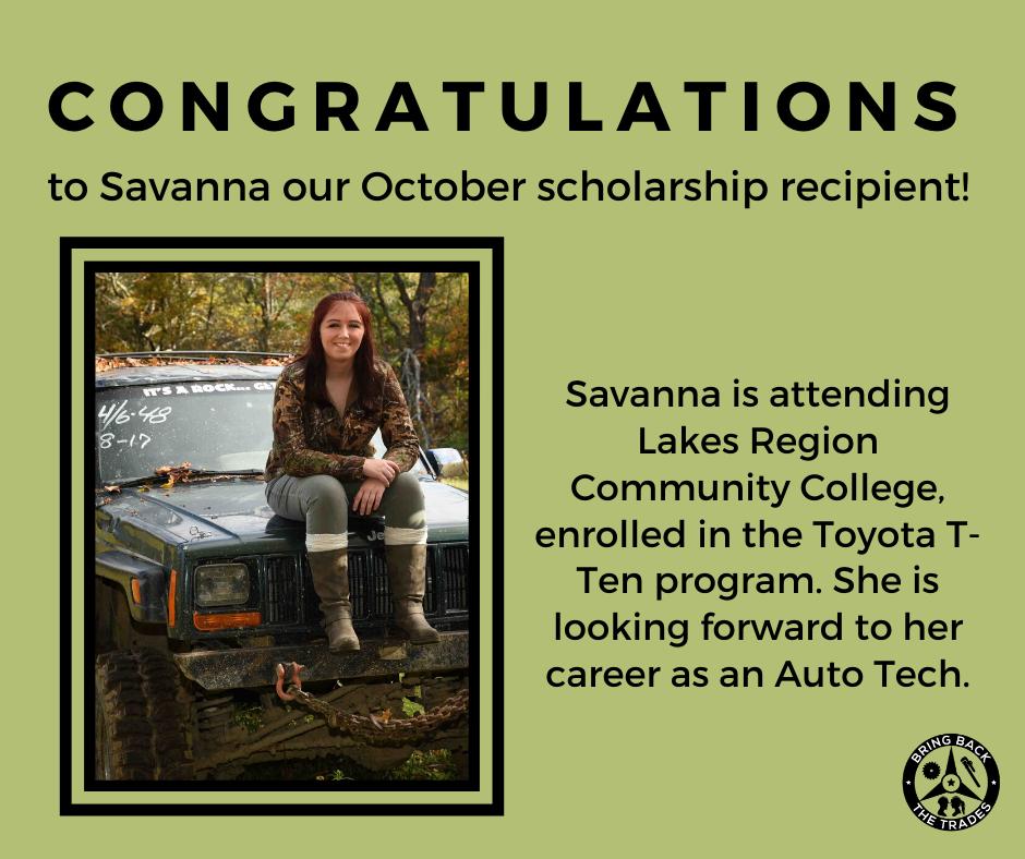 October scholarship winner