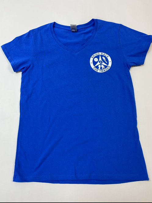 Women's  Blue V Neck tee shirt