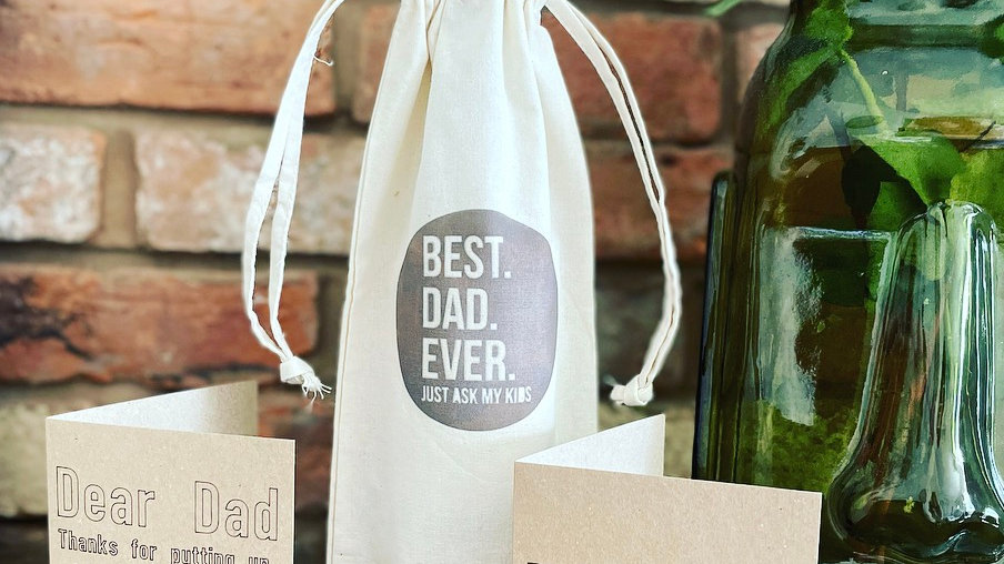 Dad bottle bag and card