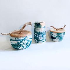 Boîte en céramique et frêne