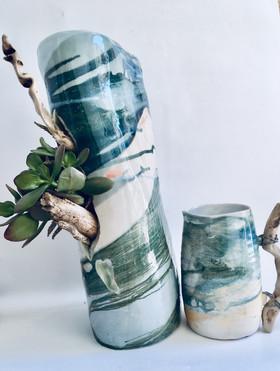 Sculpture et vase Botanique