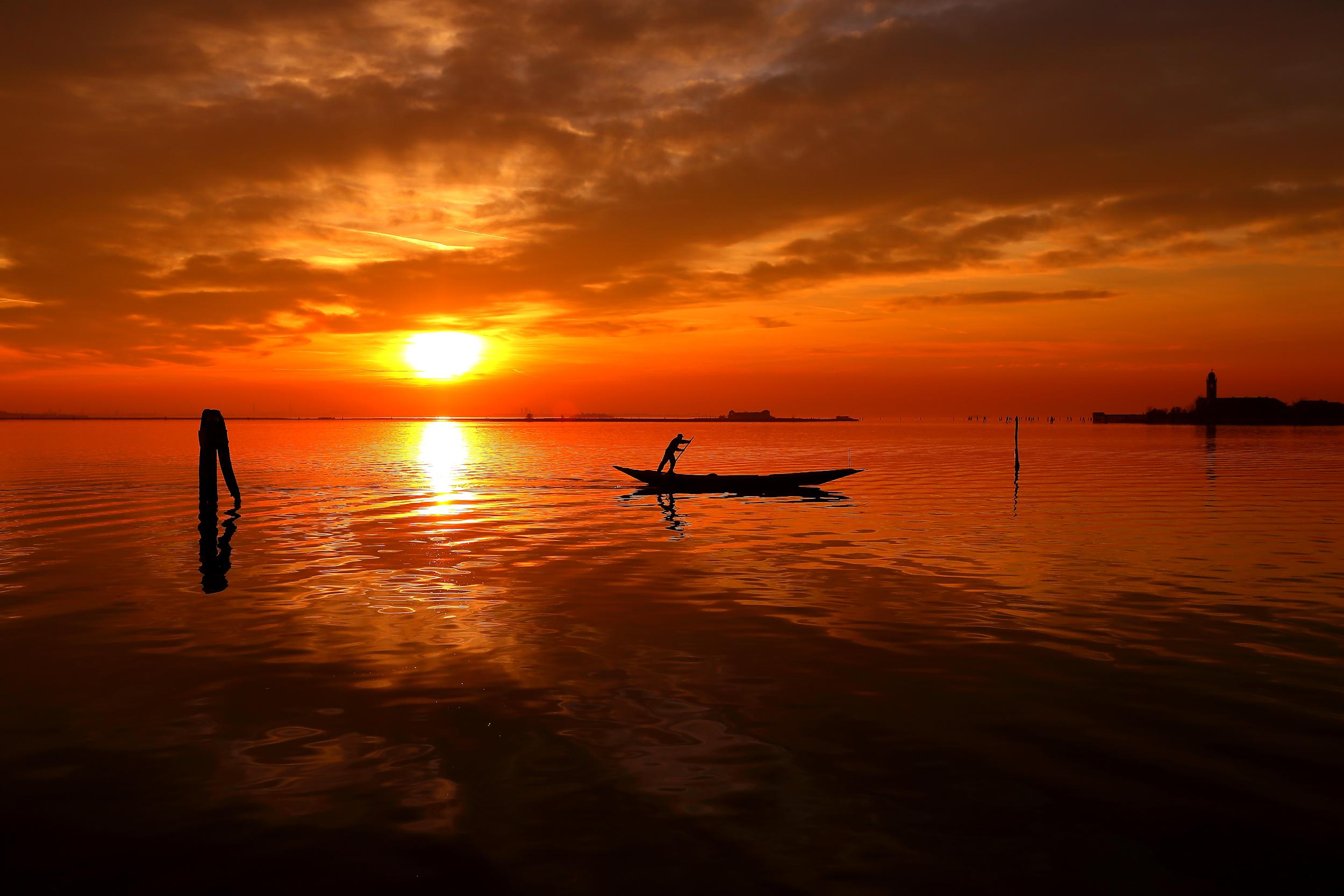 tramonto sulla laguna