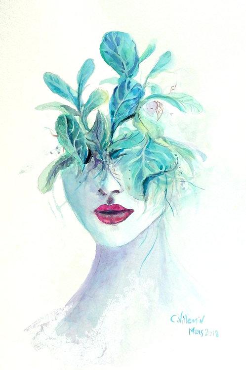 Femme pot de fleurs