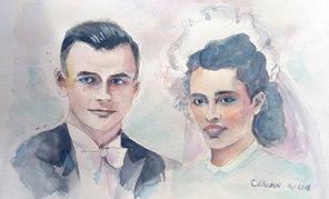 Portraits de mariés vintage