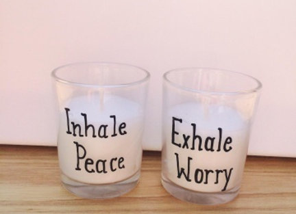 "Set of two votives  ""Inhale Peace    Exhale Worry"""