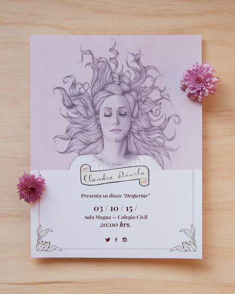 """Ilustración, fotografías y diseño gráfico por Leyda Luz para el album """"Despertar"""" de Claudia Dávila."""