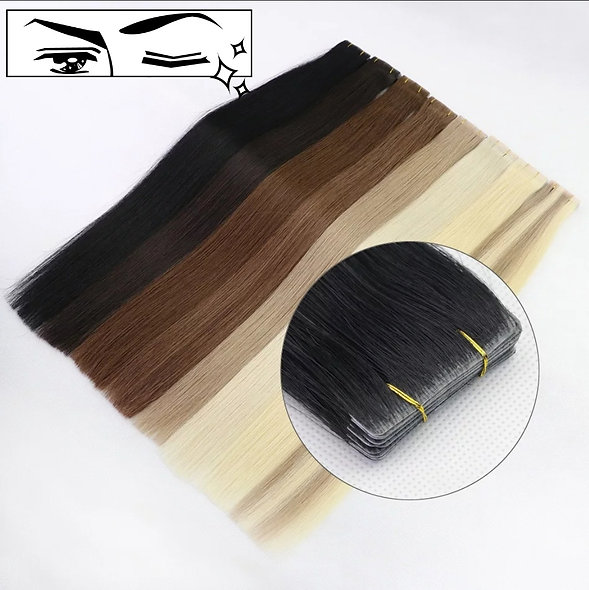 "Tape-in Hand Tied Pure Full Cuticle European Remy Hair Extensions 18"" only"