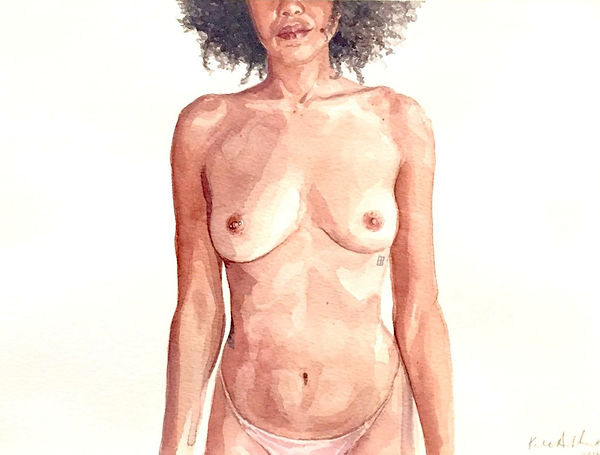 Kate Arthur - Body Portrait (Negiste), watercolour