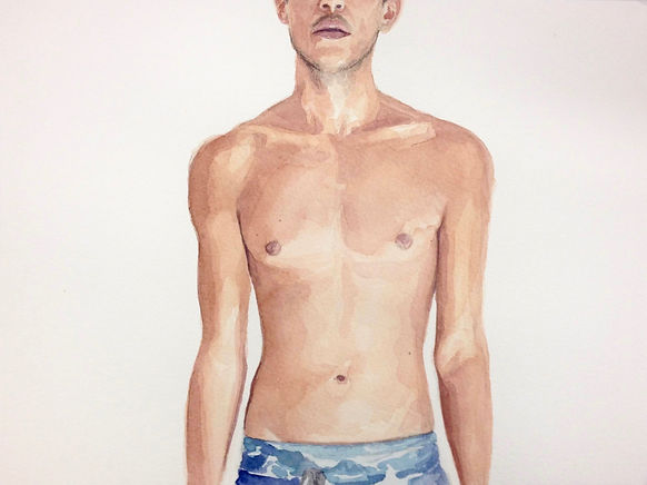 Kate Arthur - Body Portrait (Kieron), watercolour
