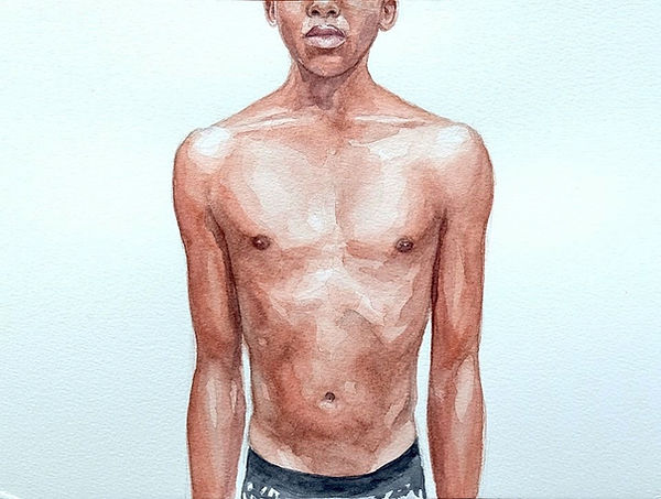 Kate Arthur - Body Portrait (Siya), watercolour