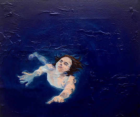 Kate Arthur - More or less a  mermaid (Cobalt), oil on canvas