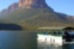Boat cruising on Blyde Dam