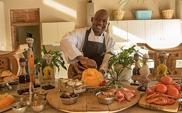 Chef preparing breakfast buffet