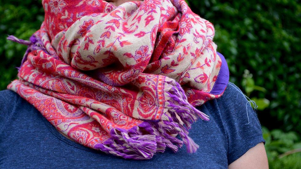 Poncho floral rouge/cru