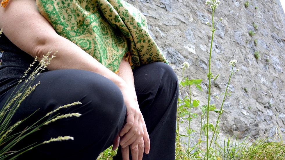 Châle floral vert/cru