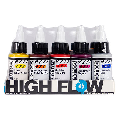 GOLDEN Assorted set of 10 x 30ml  High Flow acrylic colours.