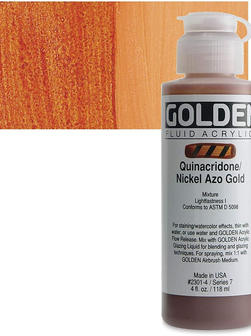 GOLDEN 118ml (med size) Quinacridone Nickel Azo Gold, Fluid Acrylic