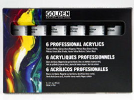 GOLDEN 6 Heavy Body Professional Acrylics - Set, 6 x 22ml