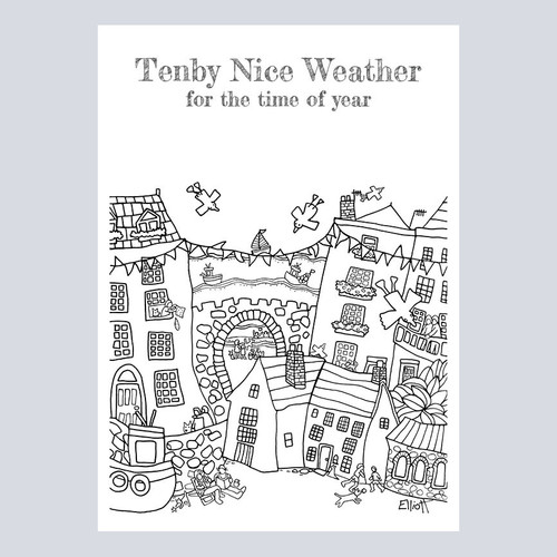 Colouring Poster Prints Tenby Nice Weather