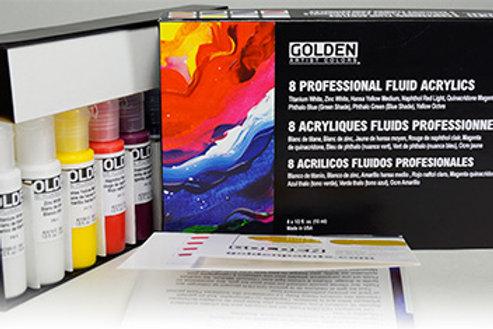 GOLDEN Select Professional Fluid Acrylic 8 Set