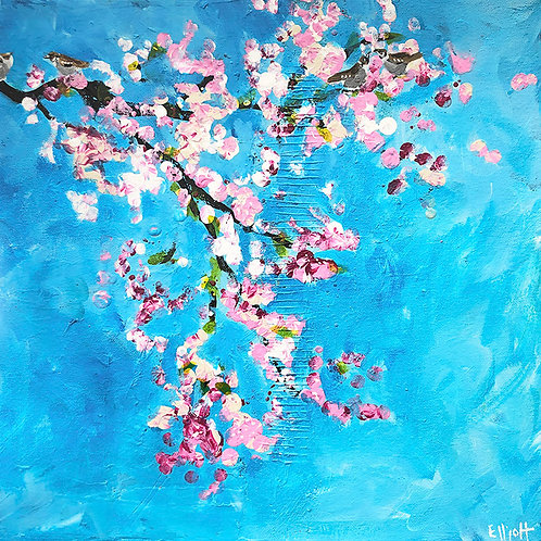 Sparrows and Cherry Blossom