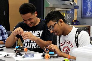 Upward Bound Students Building a Robot Vehicle