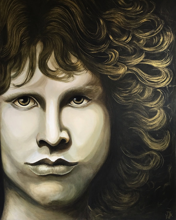 Icon art, Jim Morrison, The Doors original art painting by artist Art by Mandy UK Mandy-Jayne Ahlfors ©