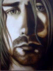 Icon Kurt Cobain of Nirvana original artwork painting by artist Art by Mandy UK Mandy-Jayne Ahlfors ©