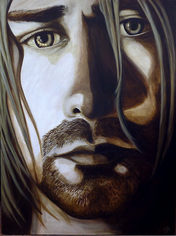 Icon Kurt Cobain of Nirvana original artwork painting by artist Art by Mandy UK Mandy-Jayne Ahlfors ©