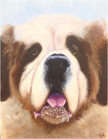 Saint Bernard Pet portrait, Pet portraits by Derbyshire artist Art by Mandy-Jayne Ahlfors ©, www.artbymandy.com