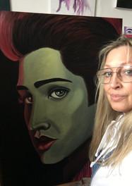 Art by Mandy UK in the studio Elvis pain