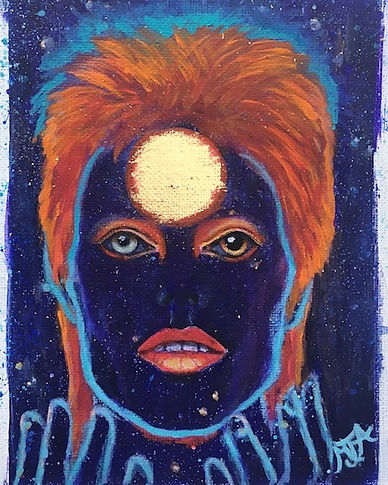 David Bowie Art, Fanart, Ziggy Stardust, #artbymandyuk, Saatchiart.com/artbymandy, Starman Touched My Soul ll, Acrylics and Genuine 24CT GoldLeaf on canvas, 16x12cm, Artist Mandy-Jayne Ahlfors©, Art by Mandy UK, #artbymandyuk,