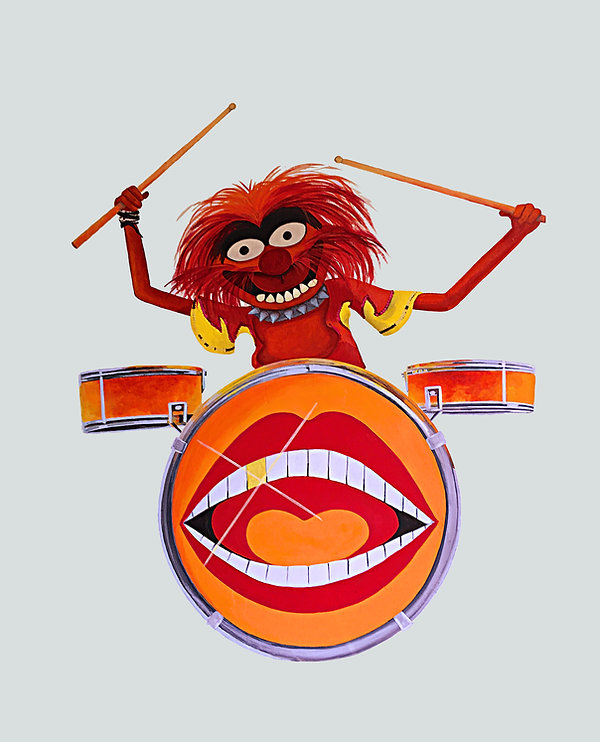 HE'S A BIT OF AN ANIMAL, ANIMAL ON DRUMS THE MUPPETS - MURAL ART- ART BY MANDY UK - www.ar