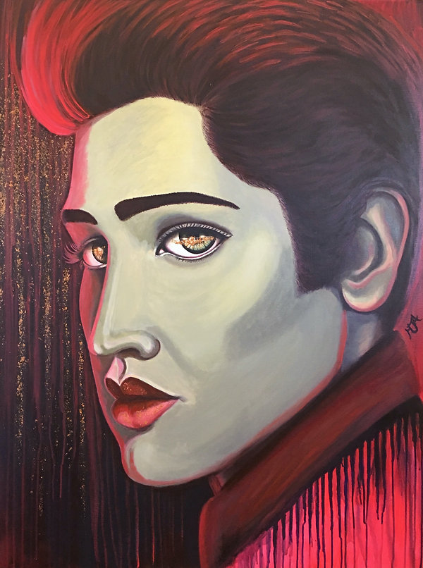 ELVIS RED & GOLD, ARTIST ART BY MANDY JA