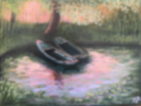Boats_at_Sunset,_Monet's_Water_Lilies_in