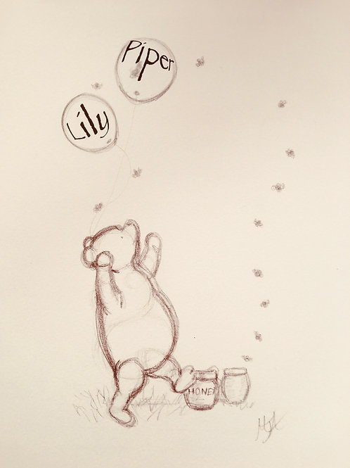 Bear Love Vintage Style artwork of Cute Winnie the Pooh & Some Honey too