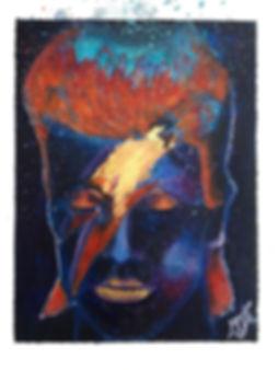 #artbymandyuk, Saatchiart.com/artbymandy, Starman Touched My Soul, Acrylics and Genuine 24CT GoldLeaf on canvas, 16x12cm, Artist Mandy-Jayne Ahlfors©, Art by Mandy UK, #artbymandyuk,